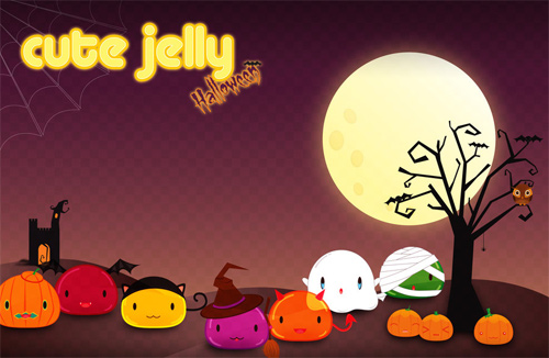 Halloween Desktop Wallpapers   Cute Jelly Halloween 500x326