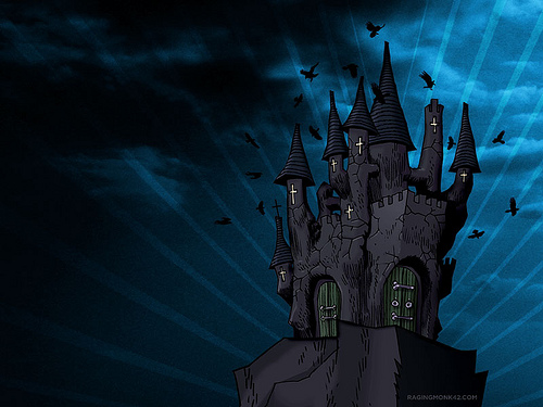 Castle from Ford SYNC ad using Jamie Hewlett illustration Flickr 500x375