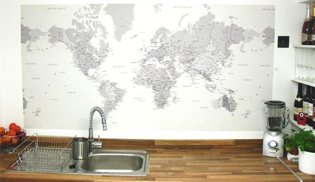 World Map Wallpaper   Customer Photos Wallpapered blog 650x375