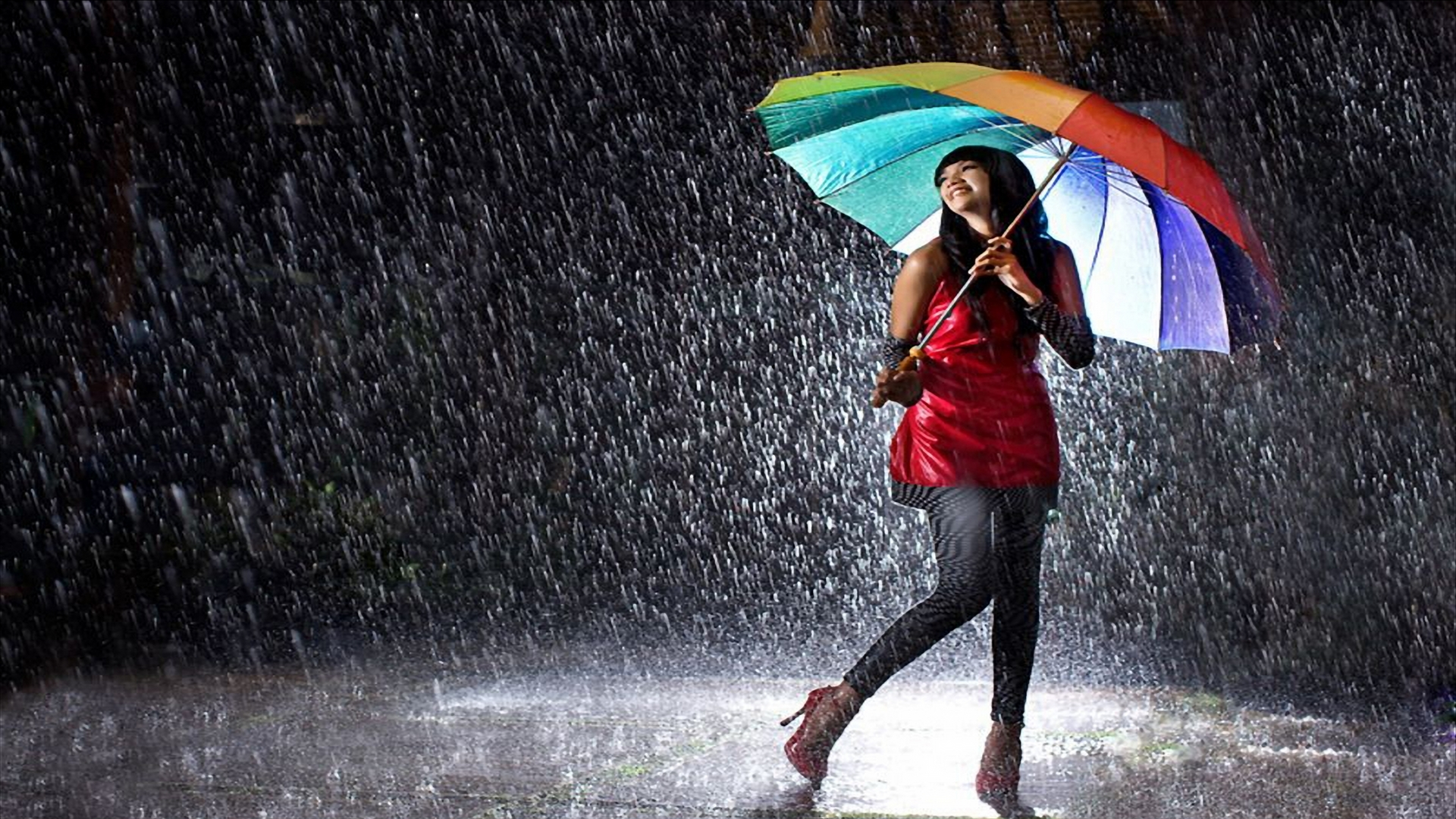 девушка зонт дождь природа  № 3582427 без смс