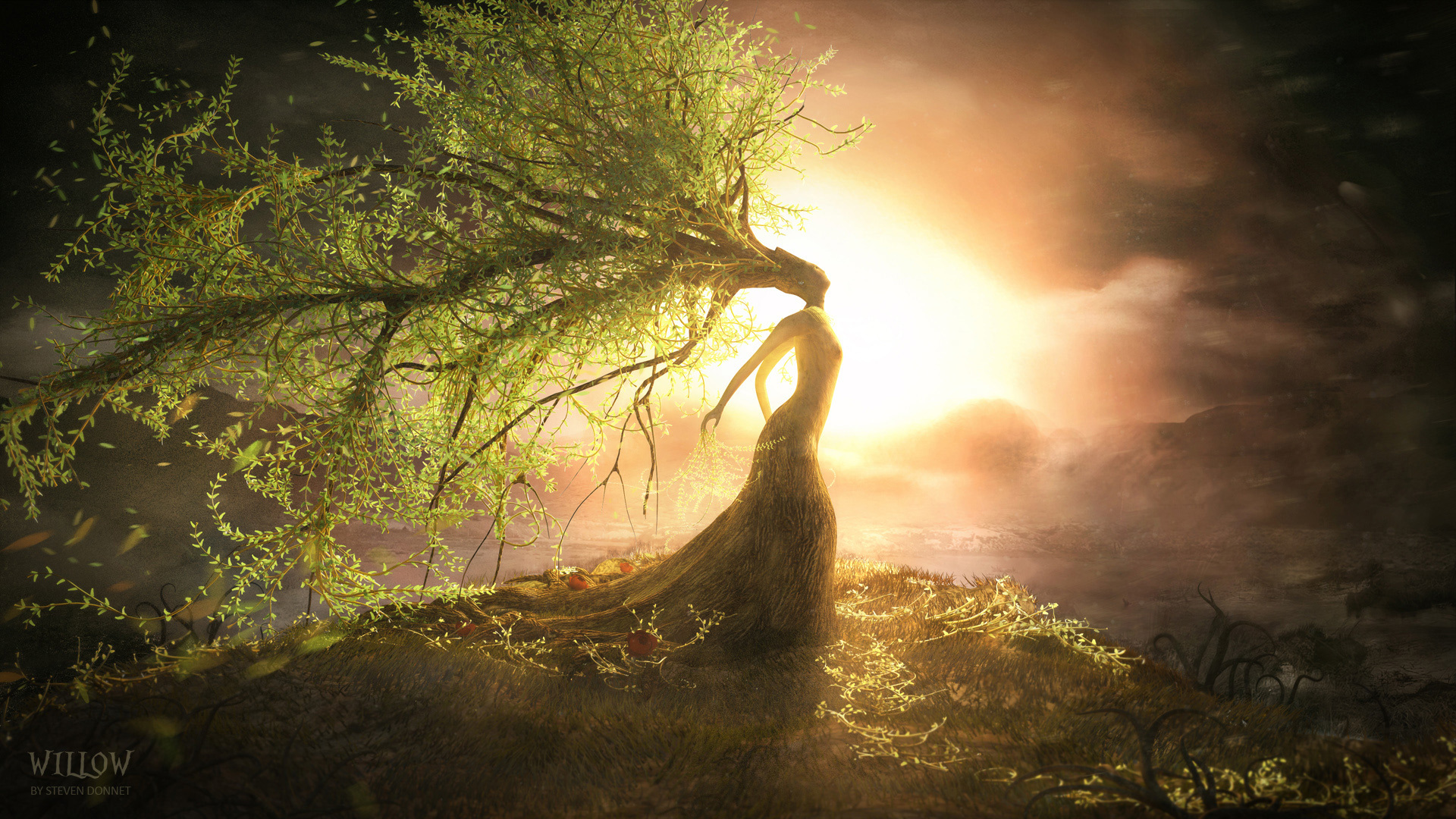 art willow landscapes mood trees sunset sunrise women gods wallpaper 1920x1080