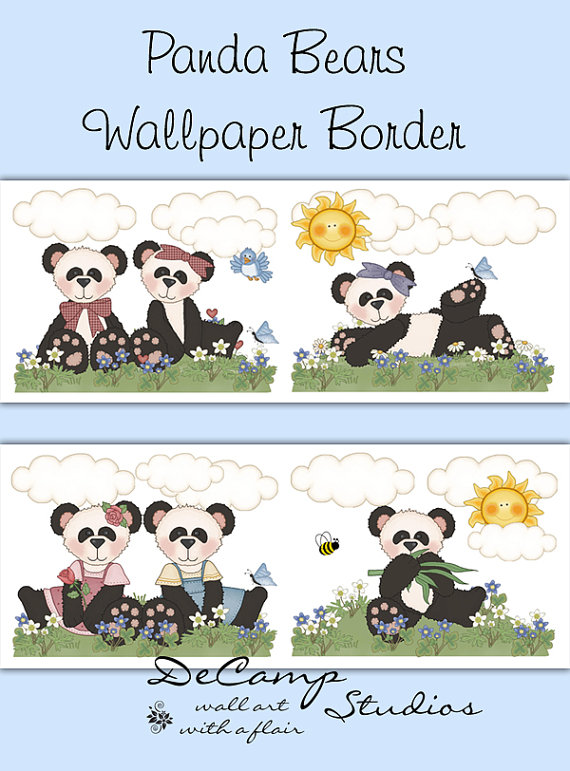 PANDA BEAR WALLPAPER Border Wall Decals Girl Boy Baby Nursery Decor 570x771