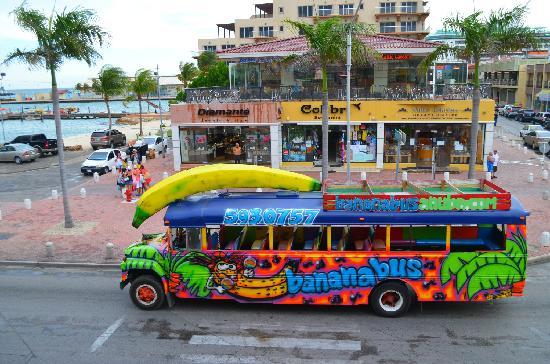Banana Bus Tour Through Oranjestad   Picture of Oranjestad Aruba 550x364