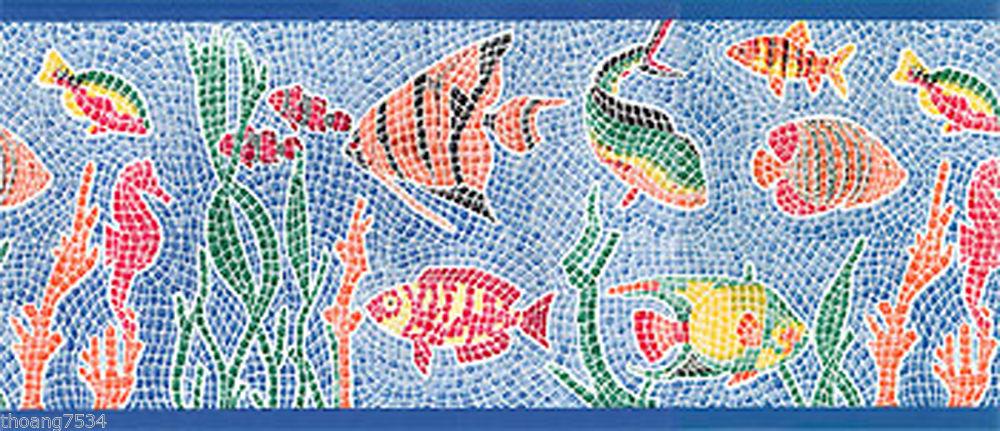 FISH MOSAIC MOSIAC TILE SEA OCEAN AQUARIUM Wall paper Border 1000x431