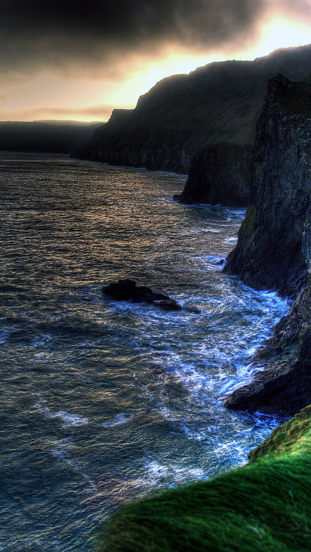 The wallpaper of amazing coastline of Ballintoy in Northern 640x1136