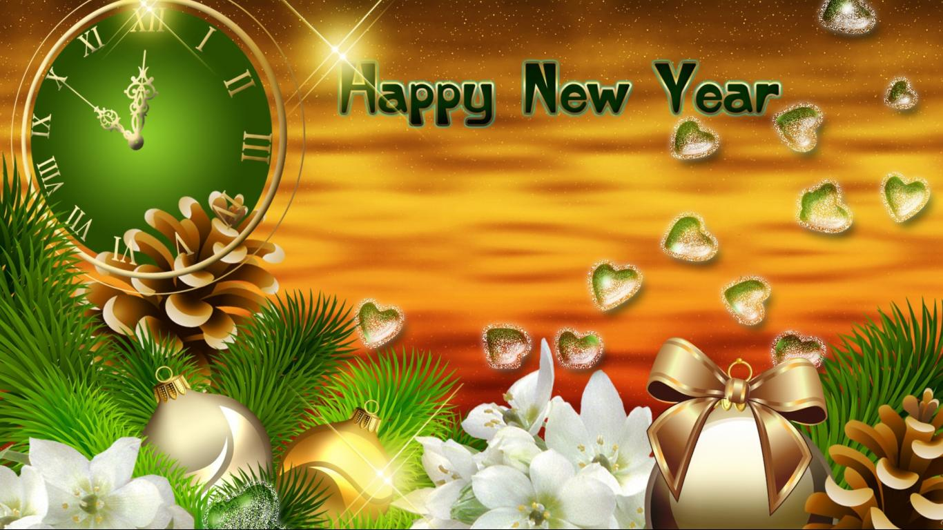 New Year backround Wallpapers WIN10 THEMES 1366x768