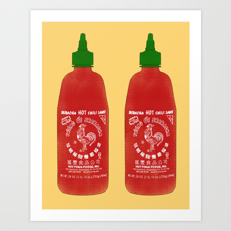 Sriracha Bottle   Yellow Background Art Print by maddisonegreen 1500x1500