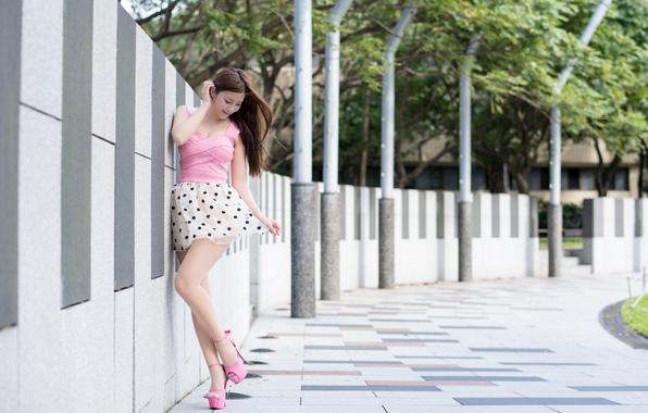Asian face hair skirt legs heels street summer wallpapers 596x380
