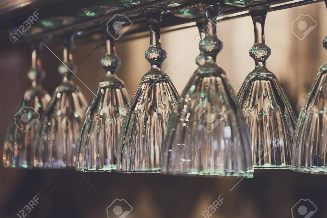 Glasses Hanging On Bar Rack Close Up Clean Utensil For Wine 1300x866