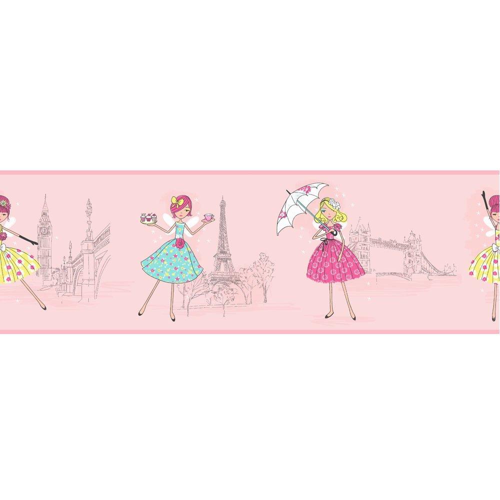 borders c12fine decor vintage fairies hoopla wallpaper border pink 1000x1000