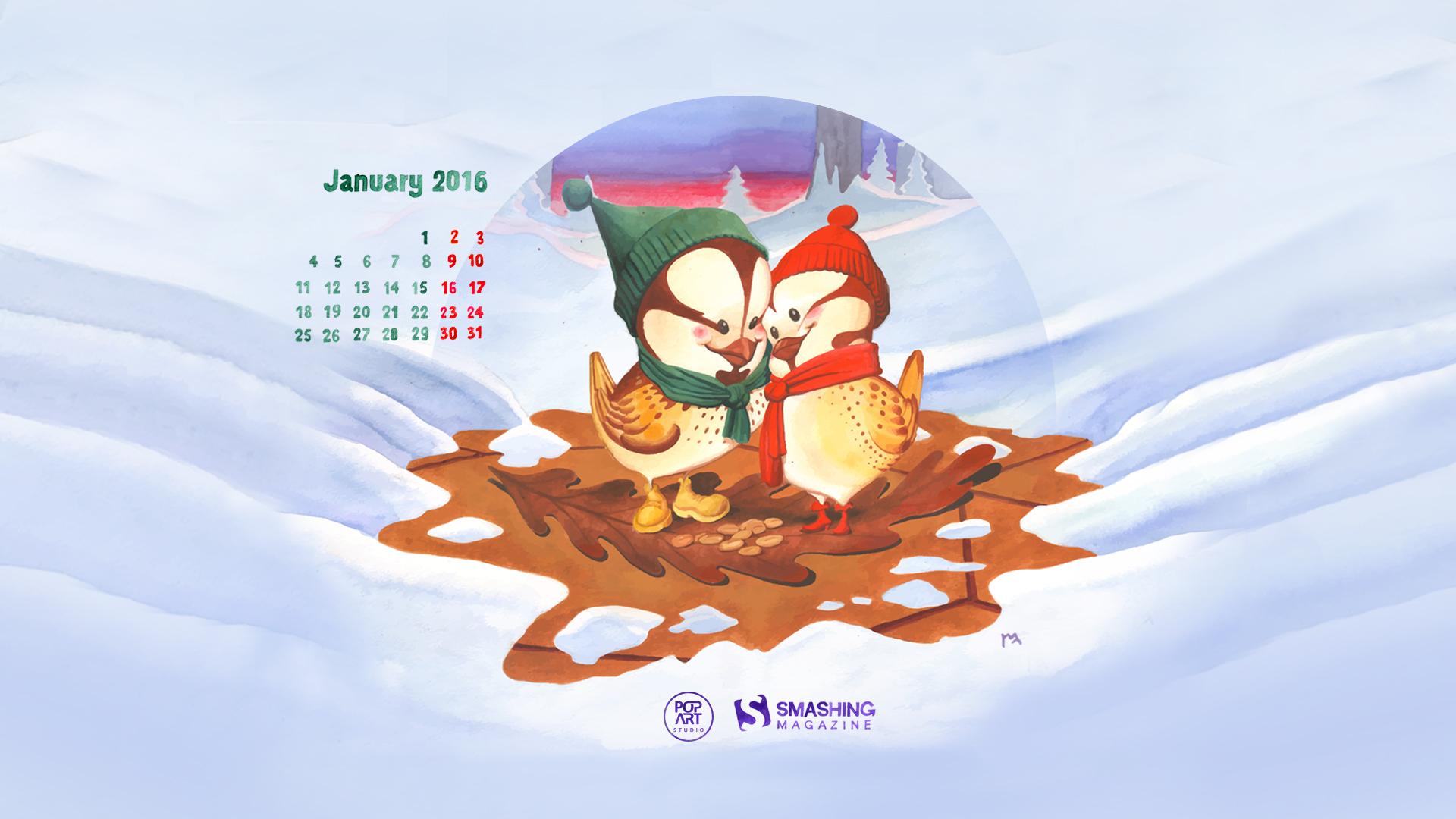 Beautiful January 2016 Calendars Wallpapers for Desktop and iPad 1920x1080