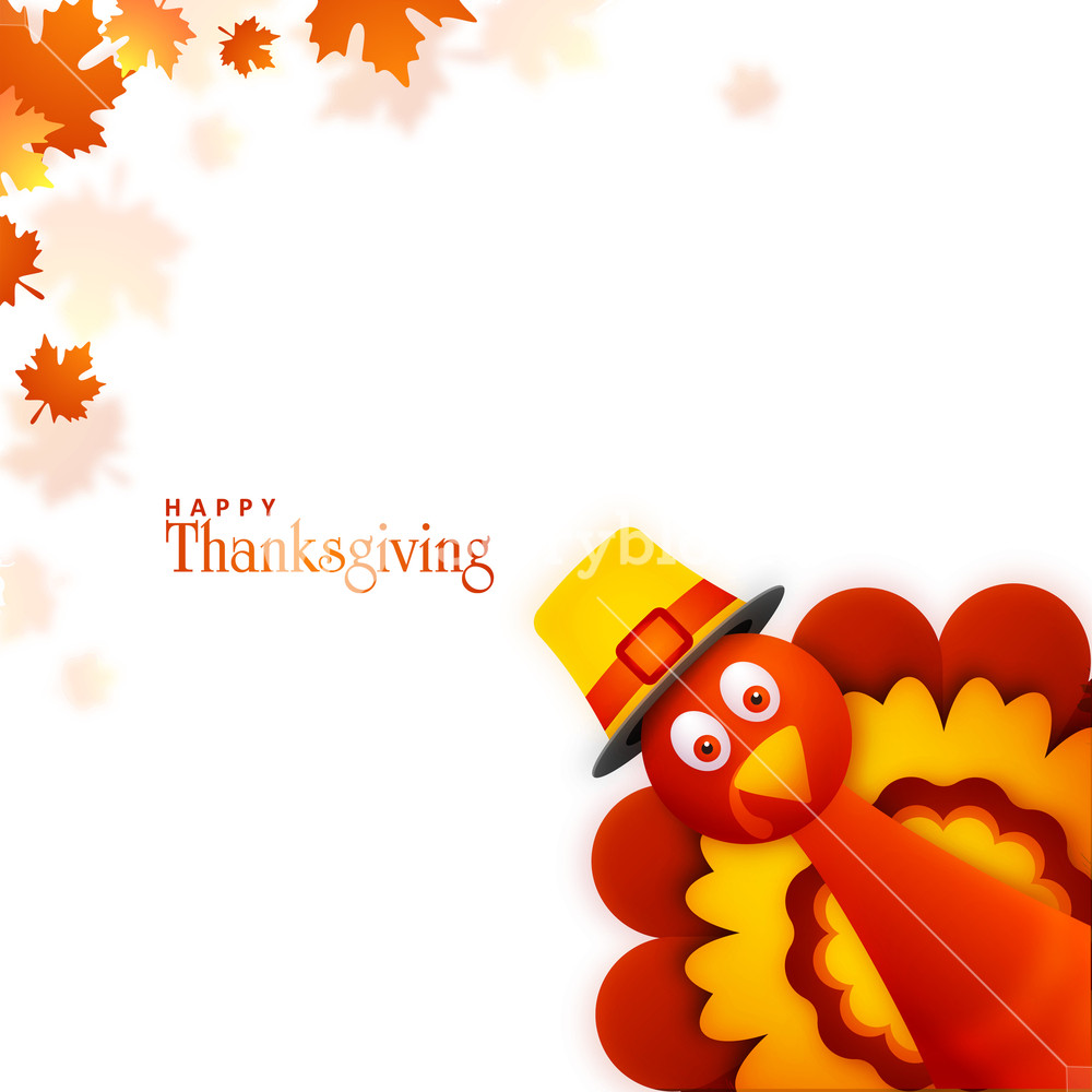 Cute Turkey Bird on maple leaves background for Happy Thanksgiving 1000x1000