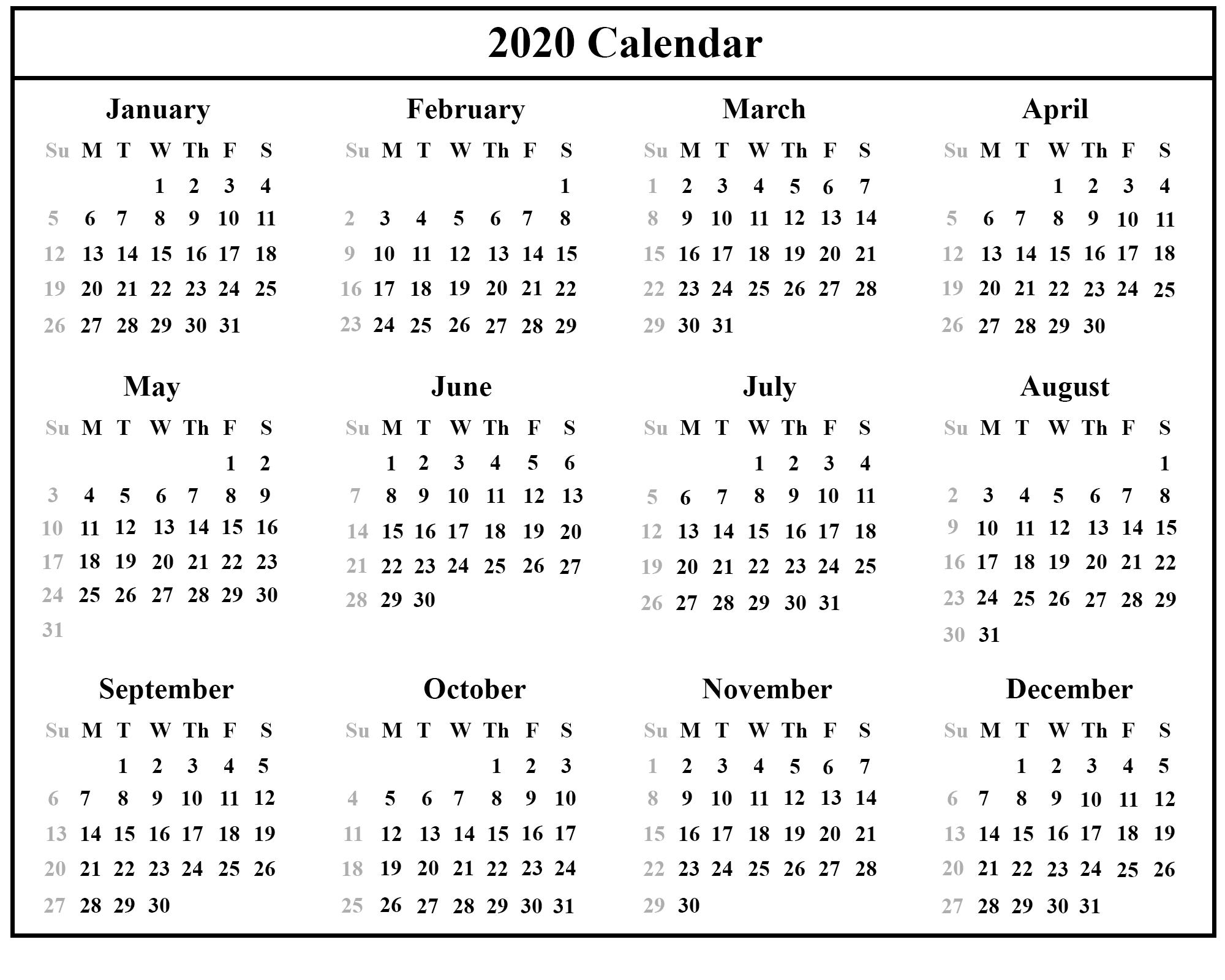 Australia 2020 Printable Calendar Template Printable calendar 2000x1600