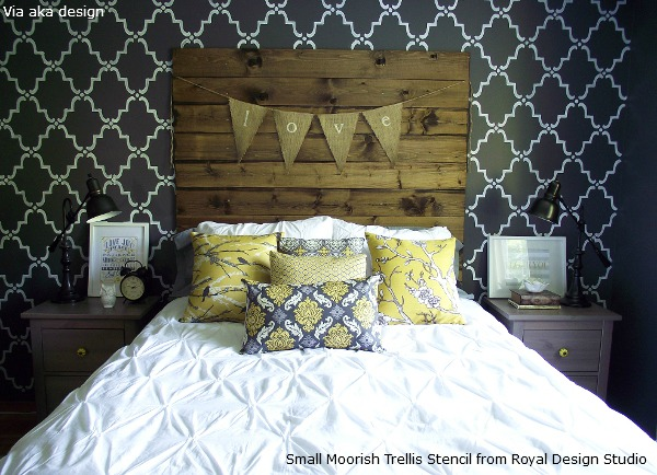 Allover Wallpaper Pattern Look on Walls Royal Design Studio Stencils 600x434