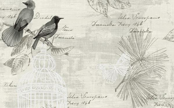 Birds and Butterfly Wallpaper in Black and Beige design by Seabrook Wa 600x372