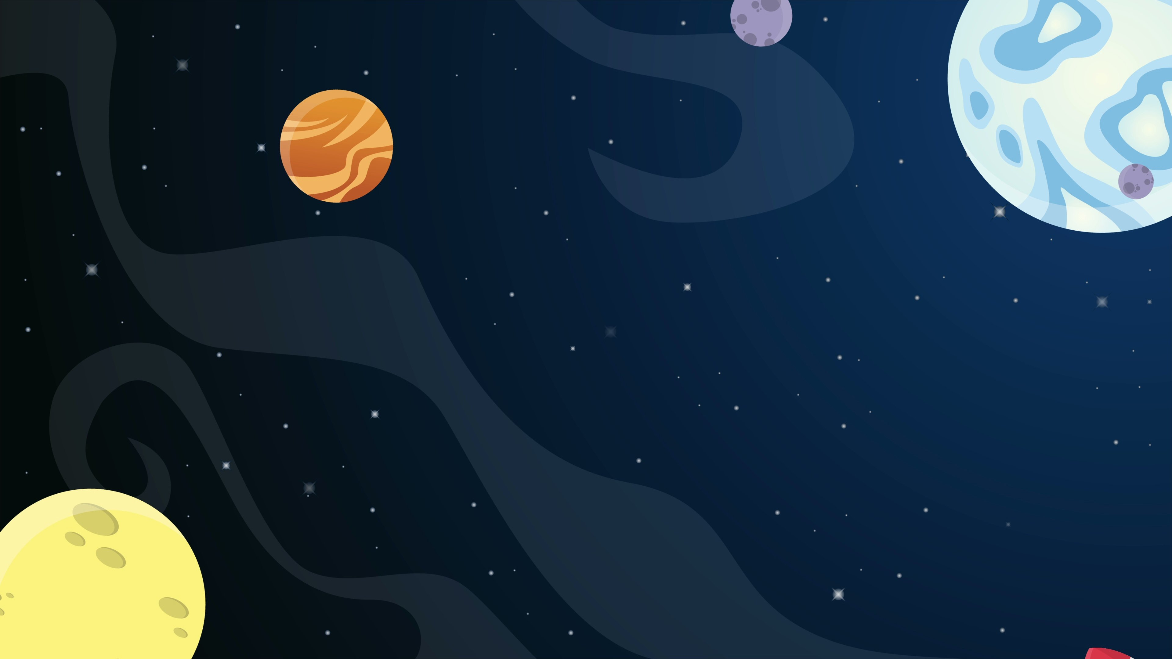 Planet cartoon in space animation background collection Hi Res 3840x2160