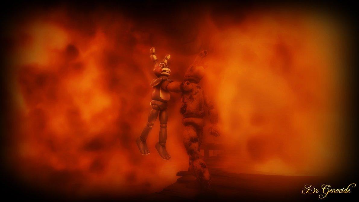 FNAF 3 Springtrap vs Toy Bonnie Wallpaper Scene 2 by DrGenocideSFM on 1191x670