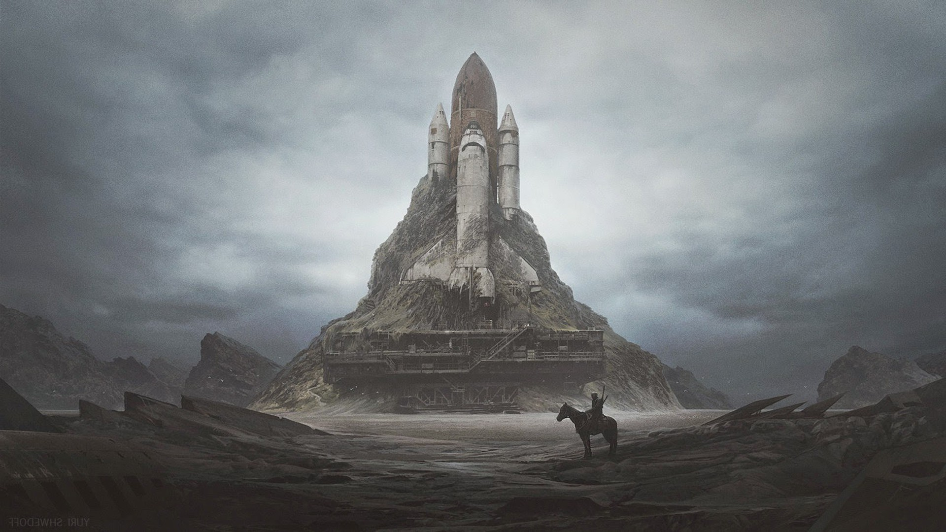 launch Pads Space Shuttle Wasteland Apocalyptic Dystopian 1920x1080