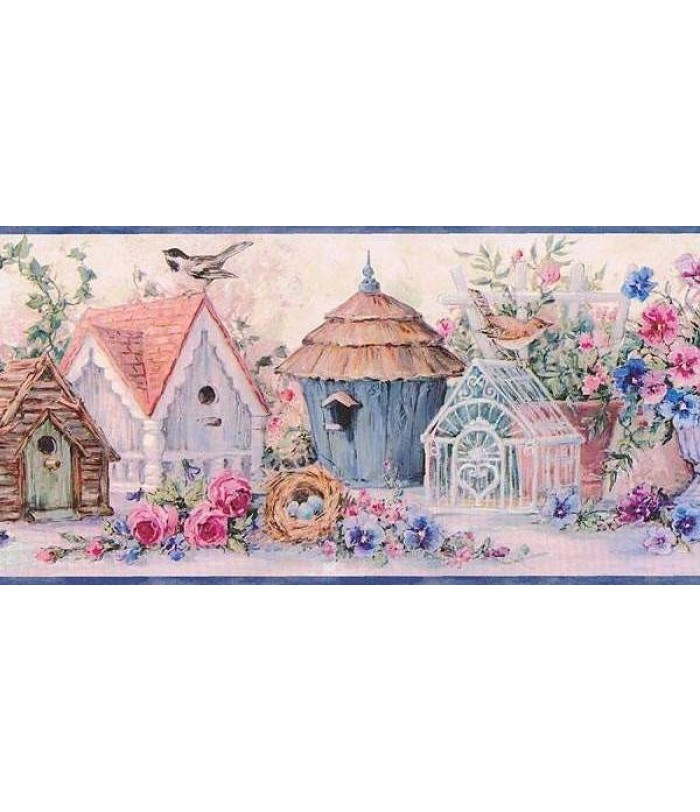 Blue Flowers And Bird Houses Wallpaper Border 700x812