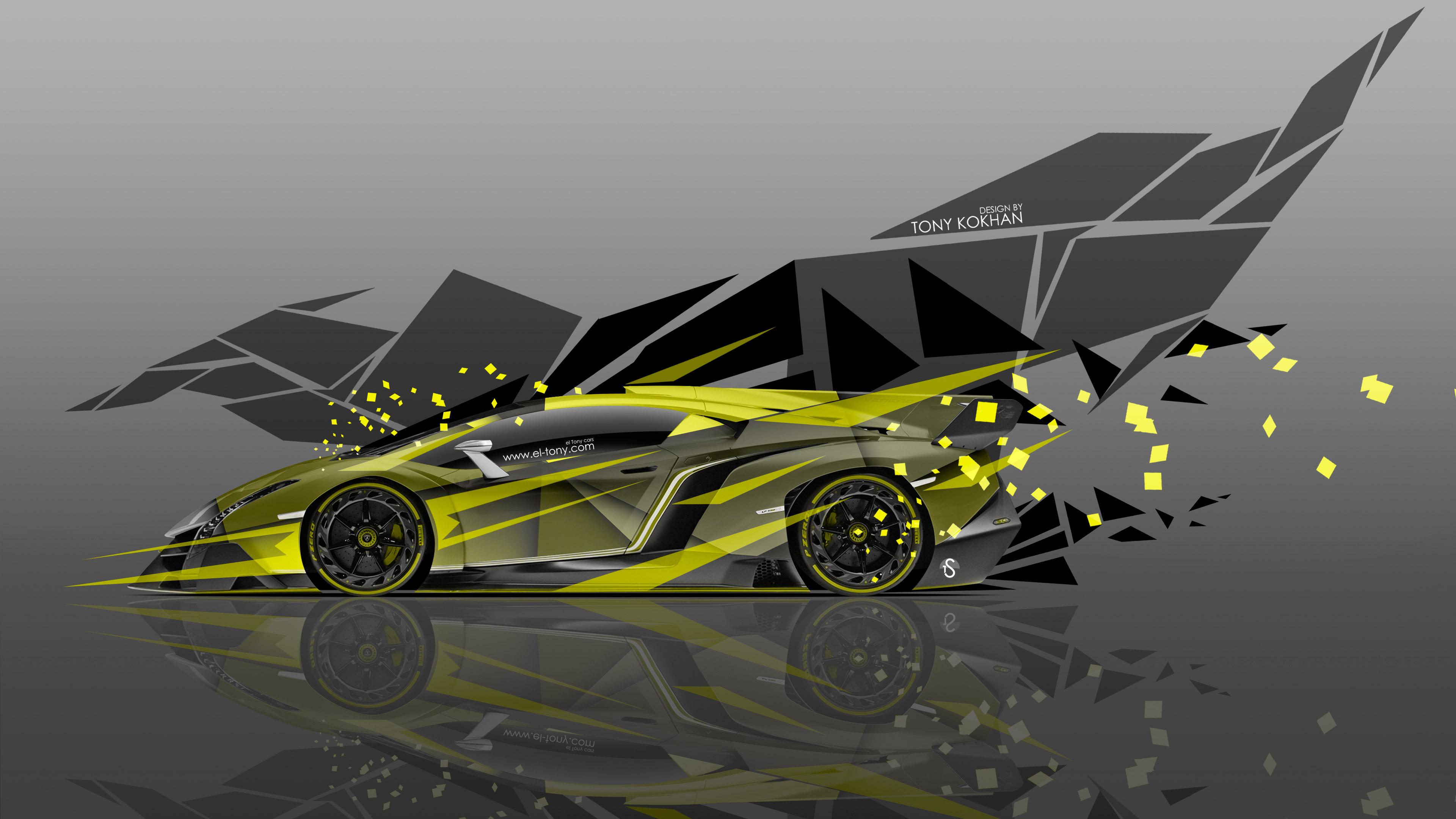 4K Lamborghini Veneno Side Super Abstract Car 2015 El Tony 3840x2160