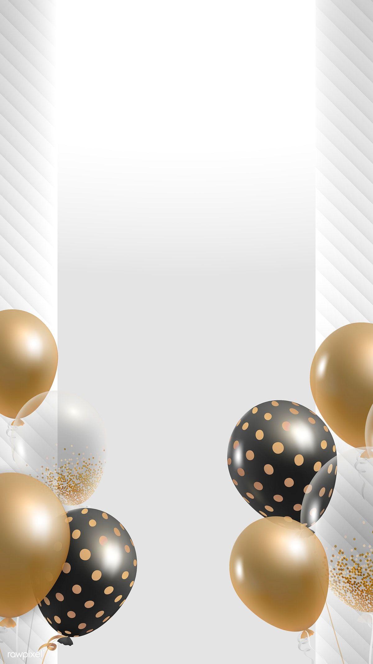 Download premium vector of Elegant balloons frame design mobile 1200x2133
