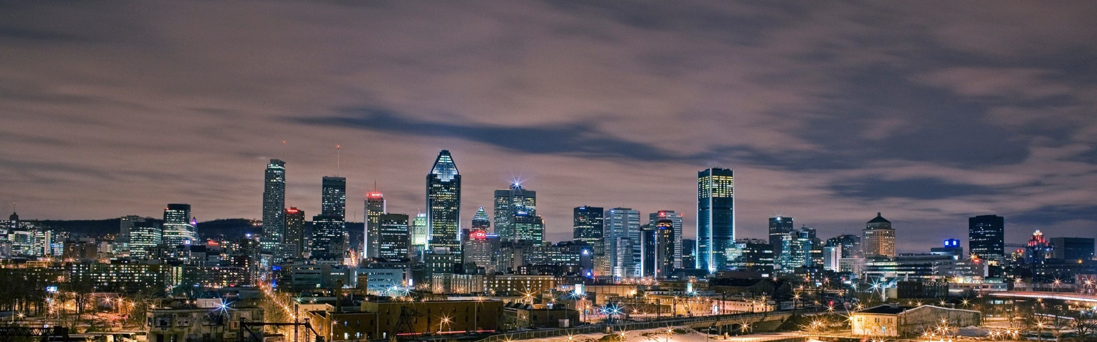 Download 3840x1200 Montreal Canada Night Building Wallpaper 3840x1200