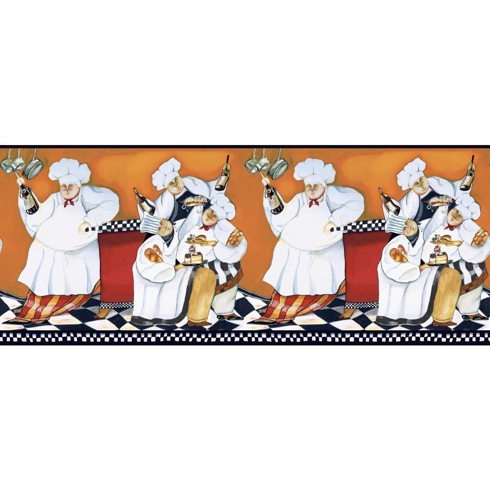 New CHEFS PREPASTED WALLPAPER A Cookin BORDER Fat Chef   Kitchen Cafe 1000x1000