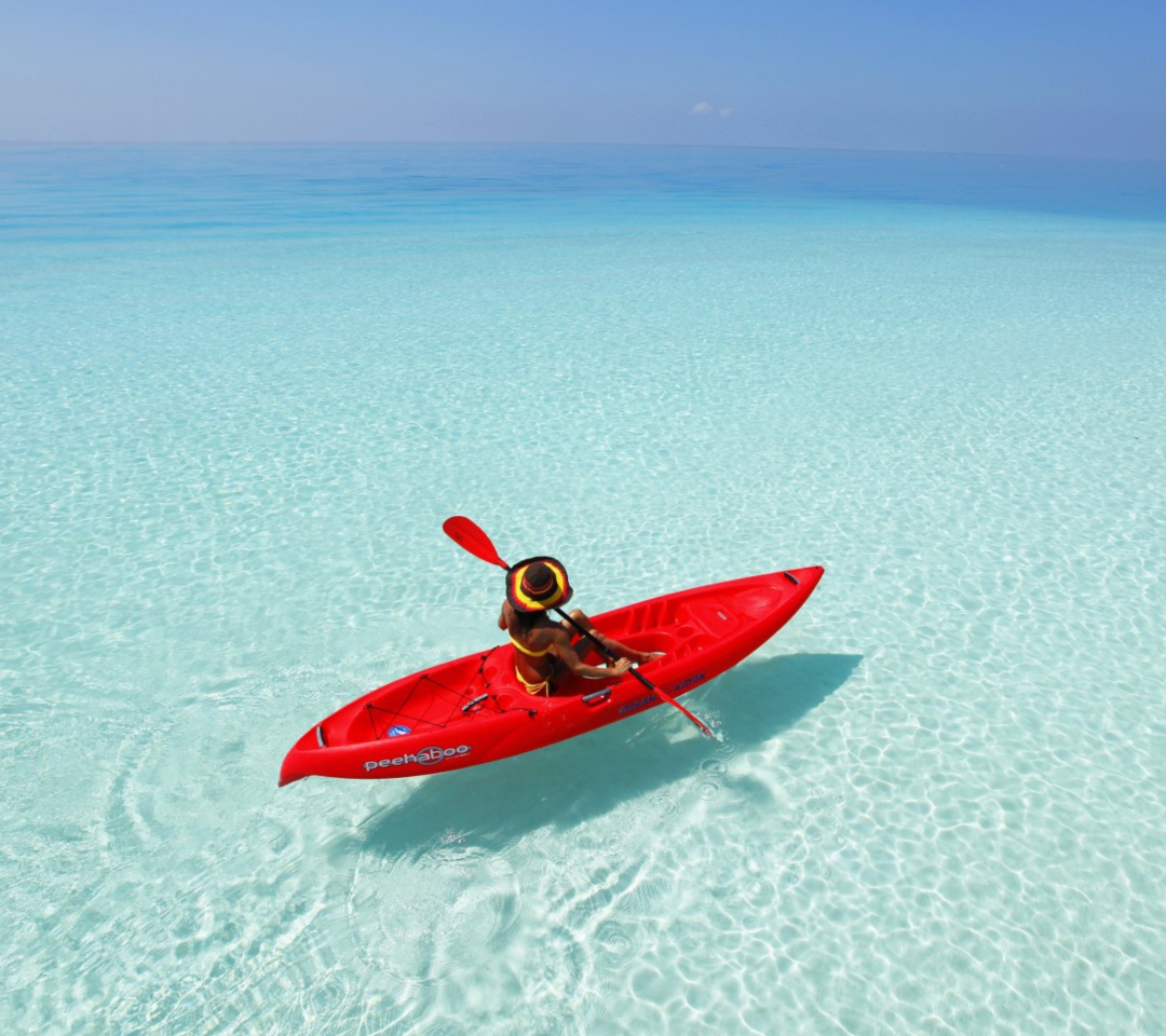 Red Kayak And Transparent Water 1080x960 android wallpaper 1080x960