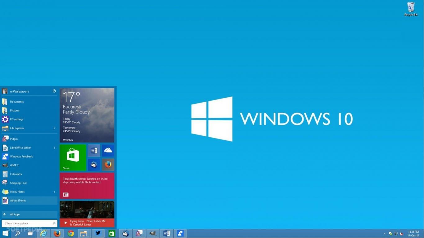 download Windows 10 Microsoft Operating System fake desktop 1366x768