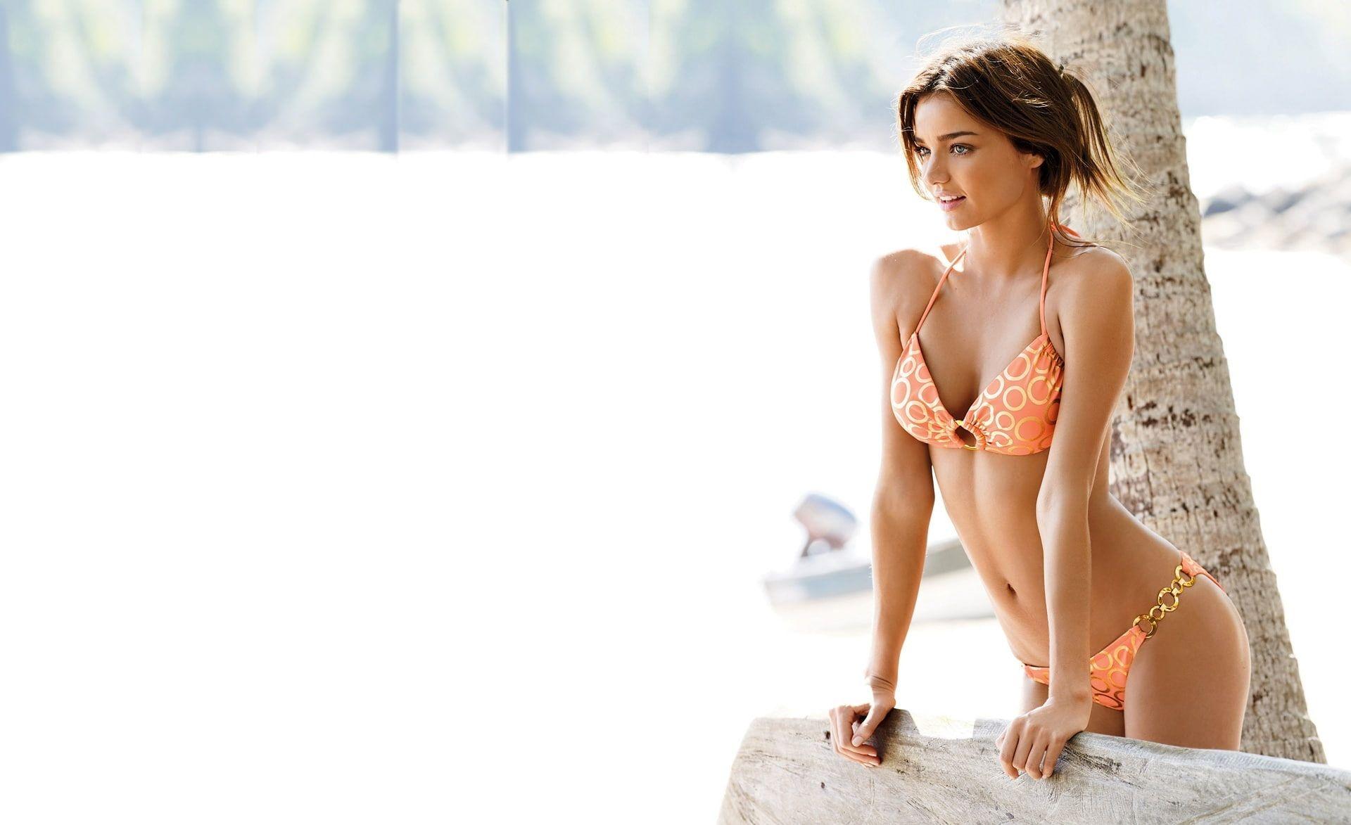 Miranda Kerr HD Wallpaper womens orange bikini set Models 1920x1173