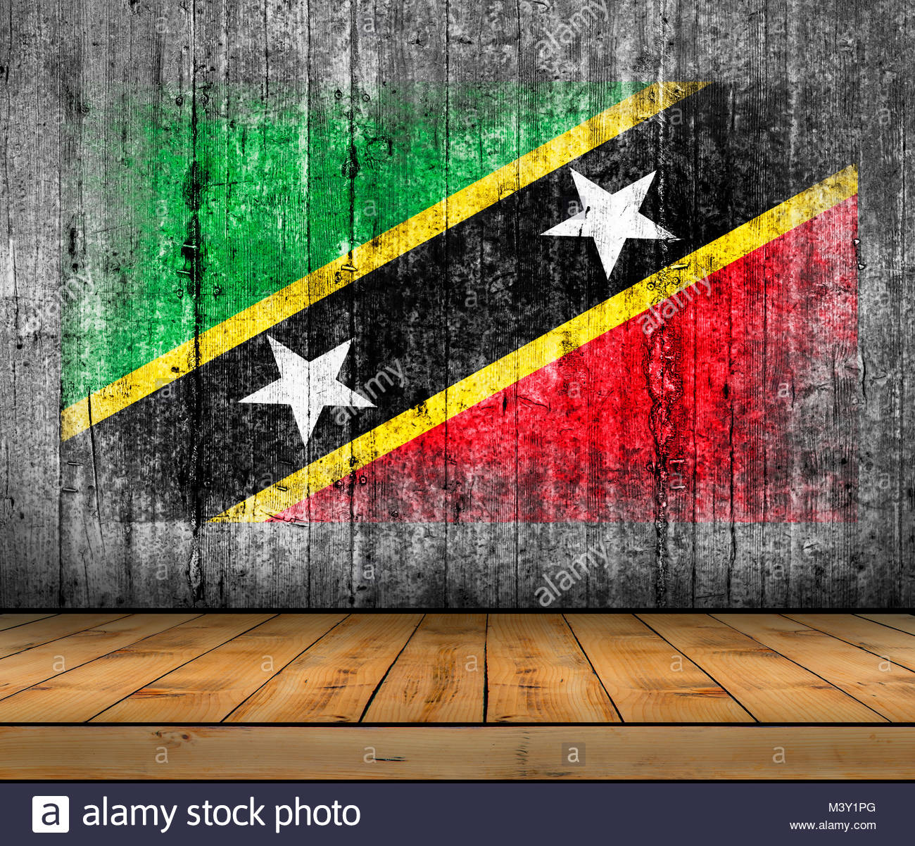 Saint Kitts and Nevis flag painted on concrete with wooden floor 1300x1202