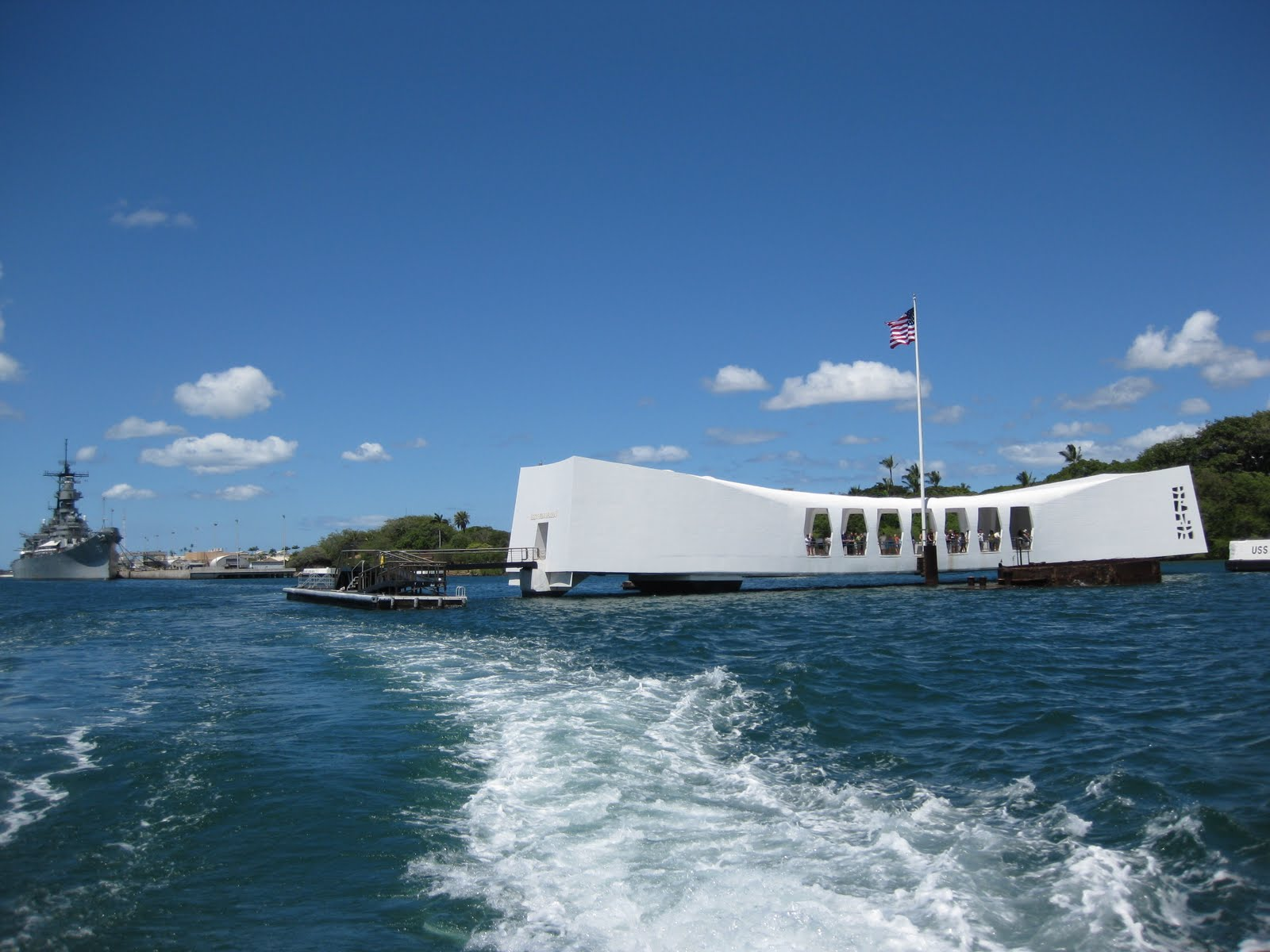 The USS Arizona Memorial with the USS Missouri in the background 1600x1200