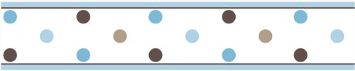 Blue and Brown Mod Dots Baby and Childrens Polka Dot Wall Border by 500x100