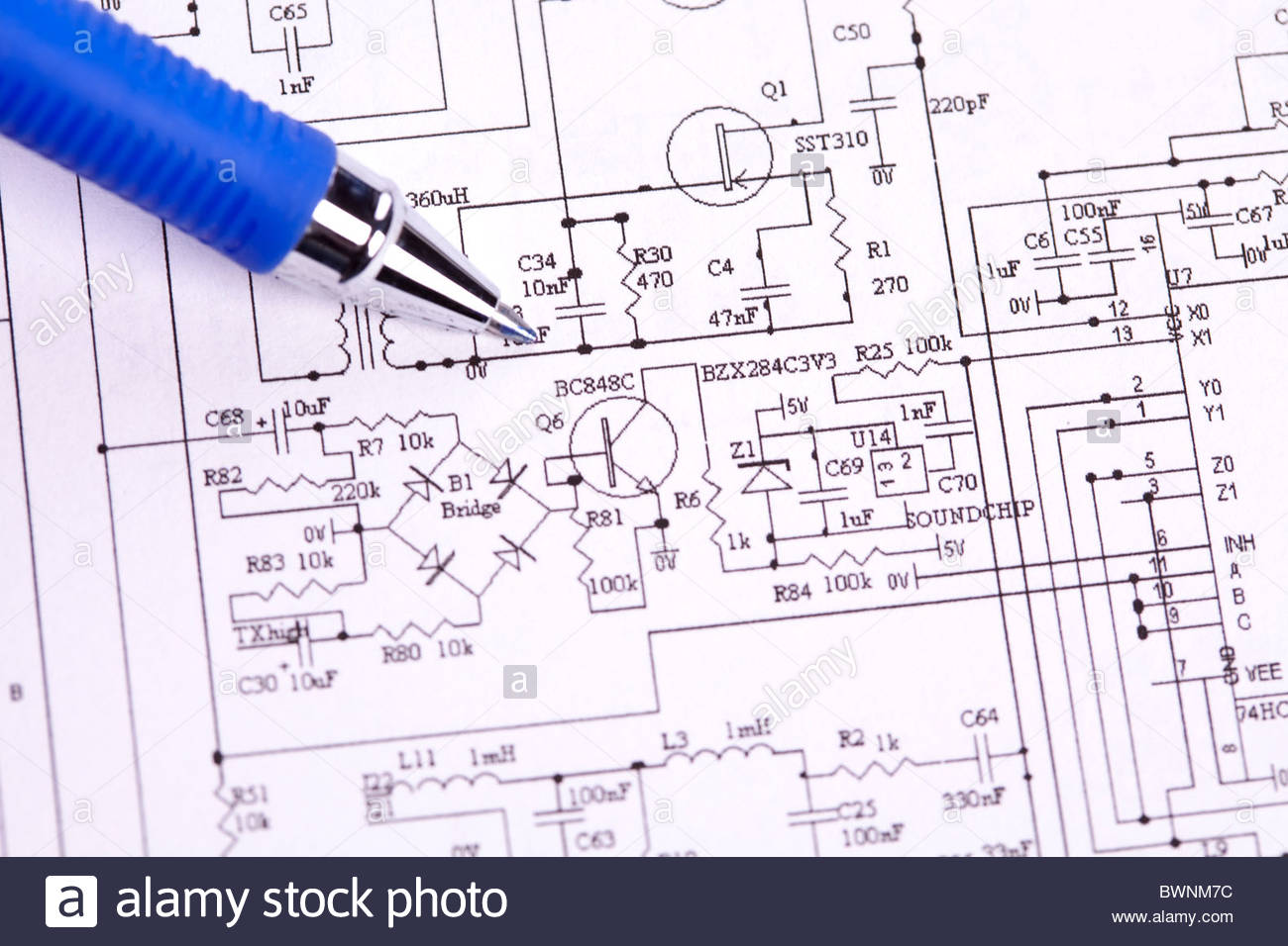 An electronic schematic diagram Ideal technology background Stock 1300x956
