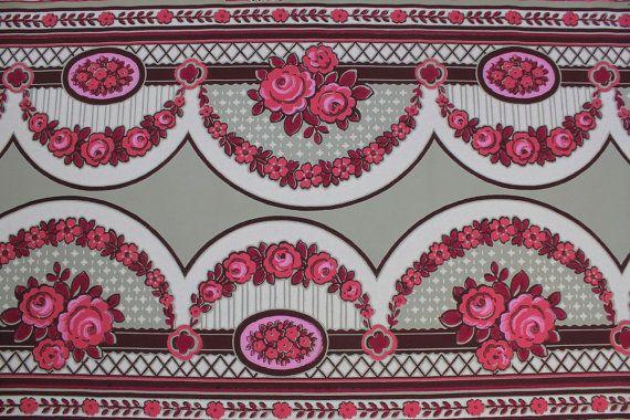 1920s Pink Rose Frieze Border Vintage Antique Wallpaper  Made in Fra 570x380