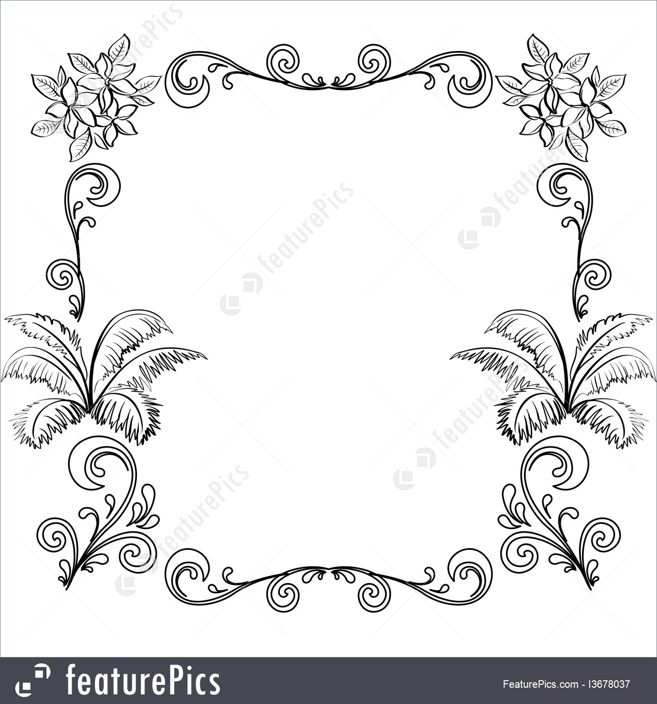 Abstract Floral Background Outline 1300x1392