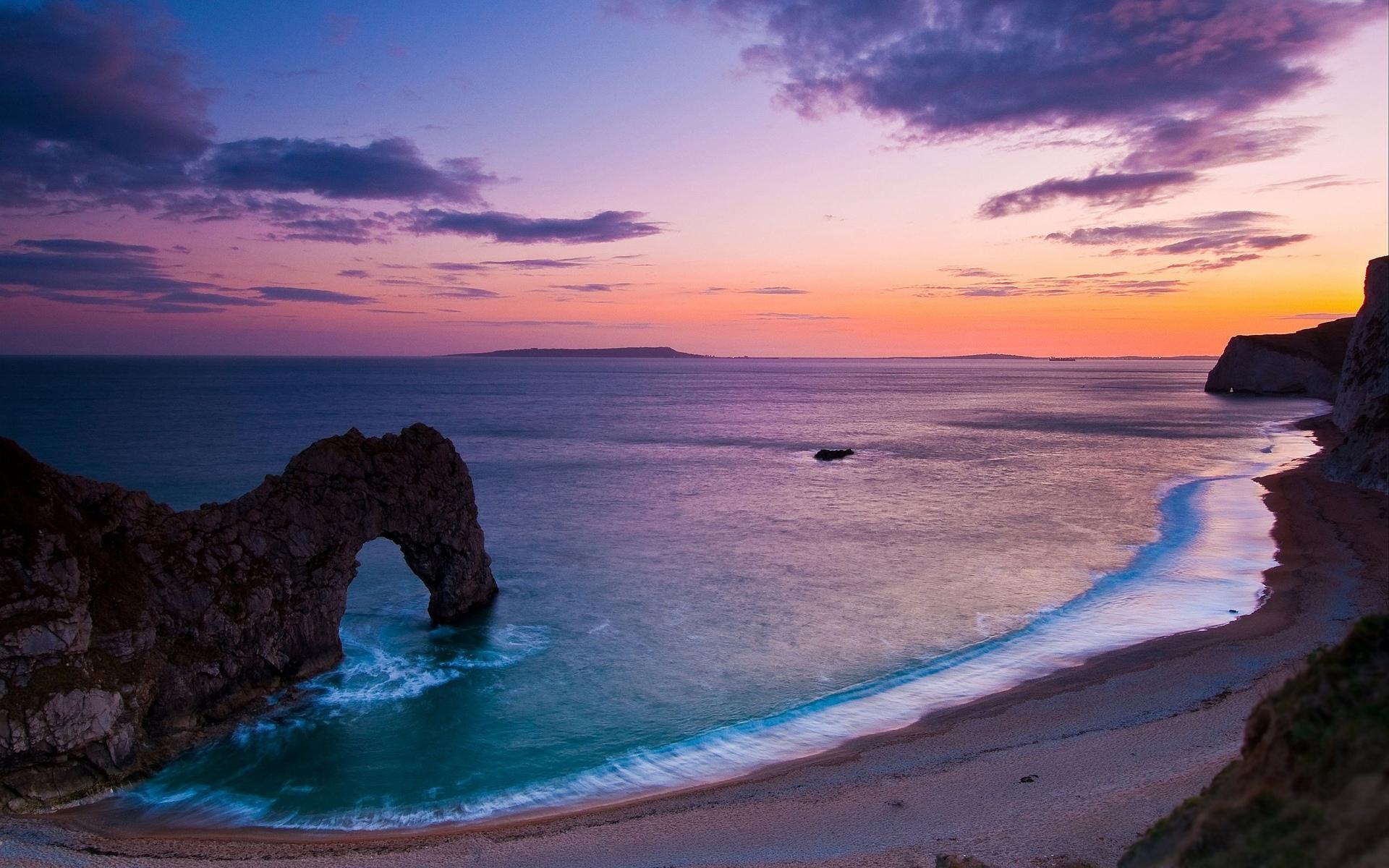 Beach landscape pebbles sunset rock evening widescreen background 1920x1200