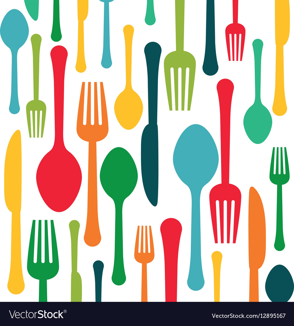 Colorful kitchen utensils background icon Vector Image 974x1080
