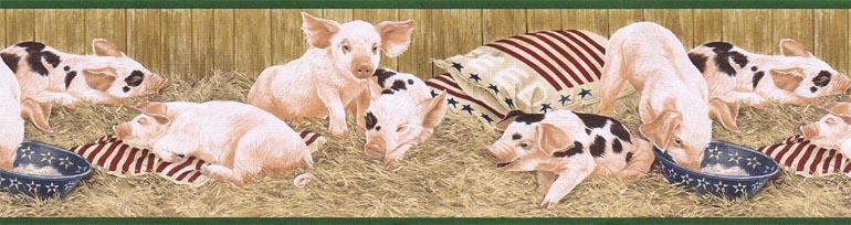 Details about ANIMAL FARM PIGS FEAST wallpaper border AFR7100 770x204