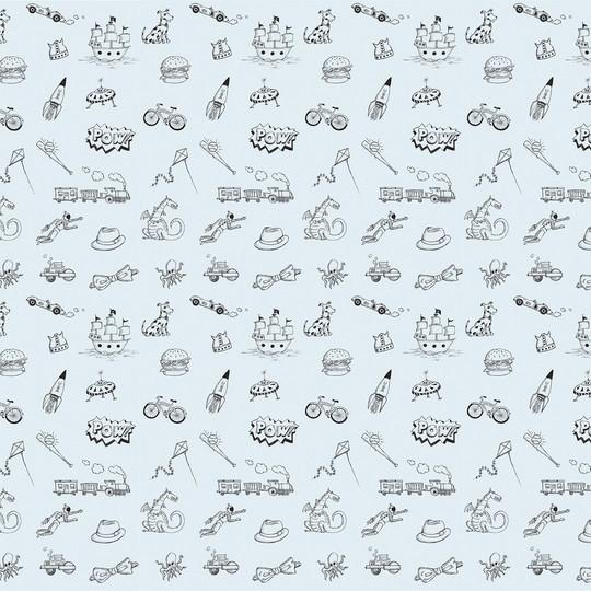 Doodle BlueBlack Removable Wallpaper 540x540