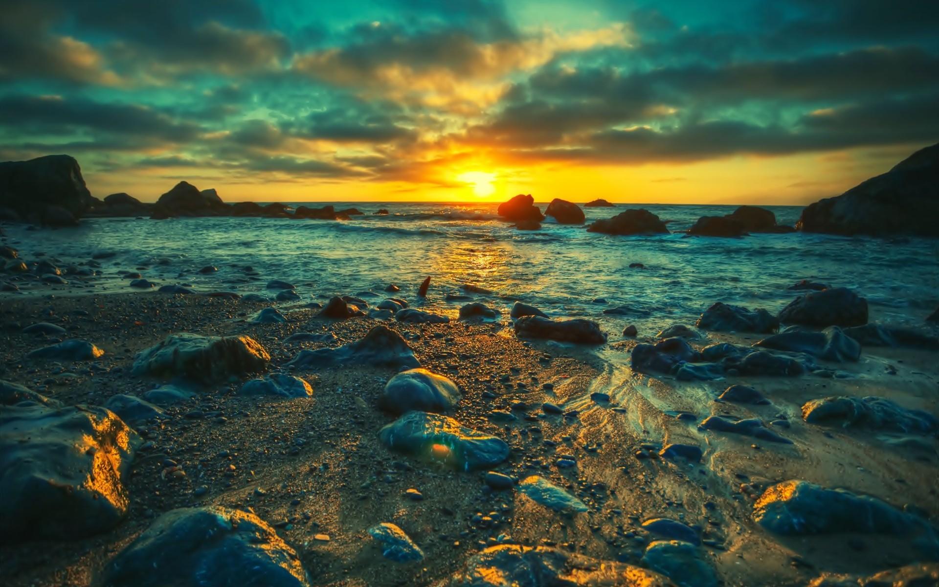 Sunset Landscapes Nature Sea 9854 Wallpaper Wallpaper hd 1920x1200