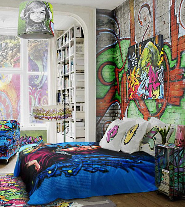 Graffiti Bedroom Decoration On The Wall 600x672