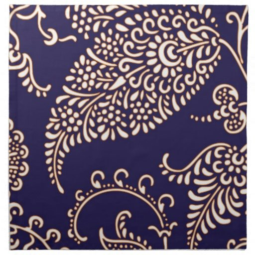 Navy Cobalt Blue Paisley Chic Girly Floral Vintage Wallpaper Pattern 512x512