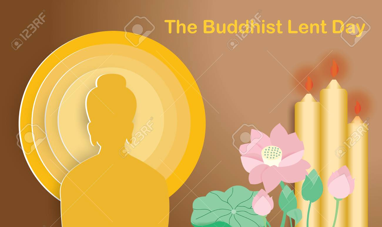 Buddhist Lent Day With Lotus And Three Yellow Candlesvector 1300x773