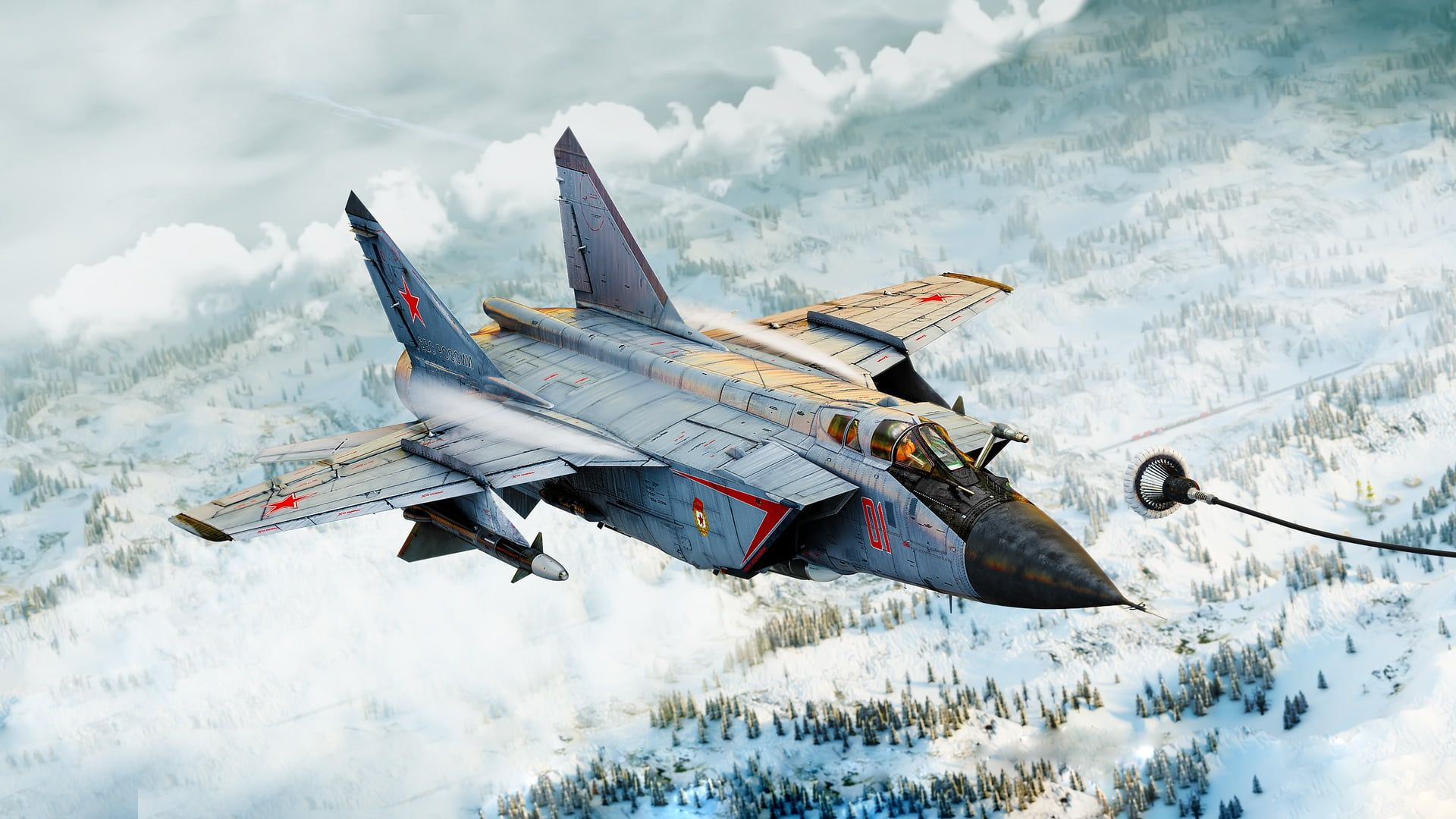 artwork military aircraft vehicle aircraft MiG 31B Mig 25 1920x1080