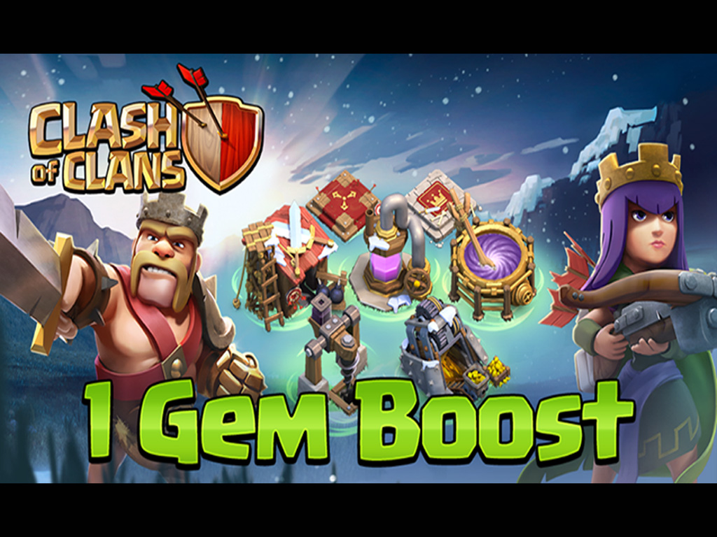 Archer Queen and Barbarian King 1 Gem Boost Wallpaper Clash Of Clans 1024x768