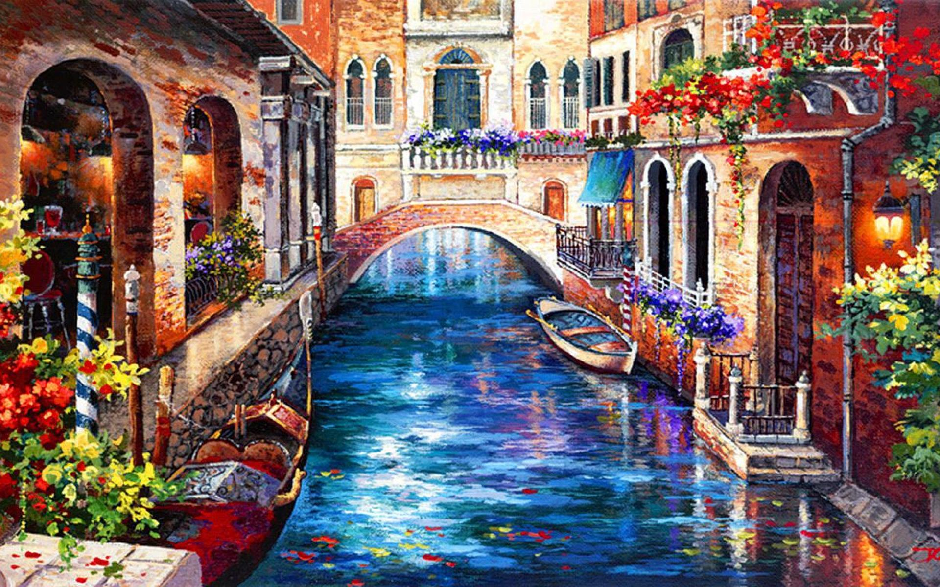 Venice Paintings HD Wallpaper Background Images 1920x1200