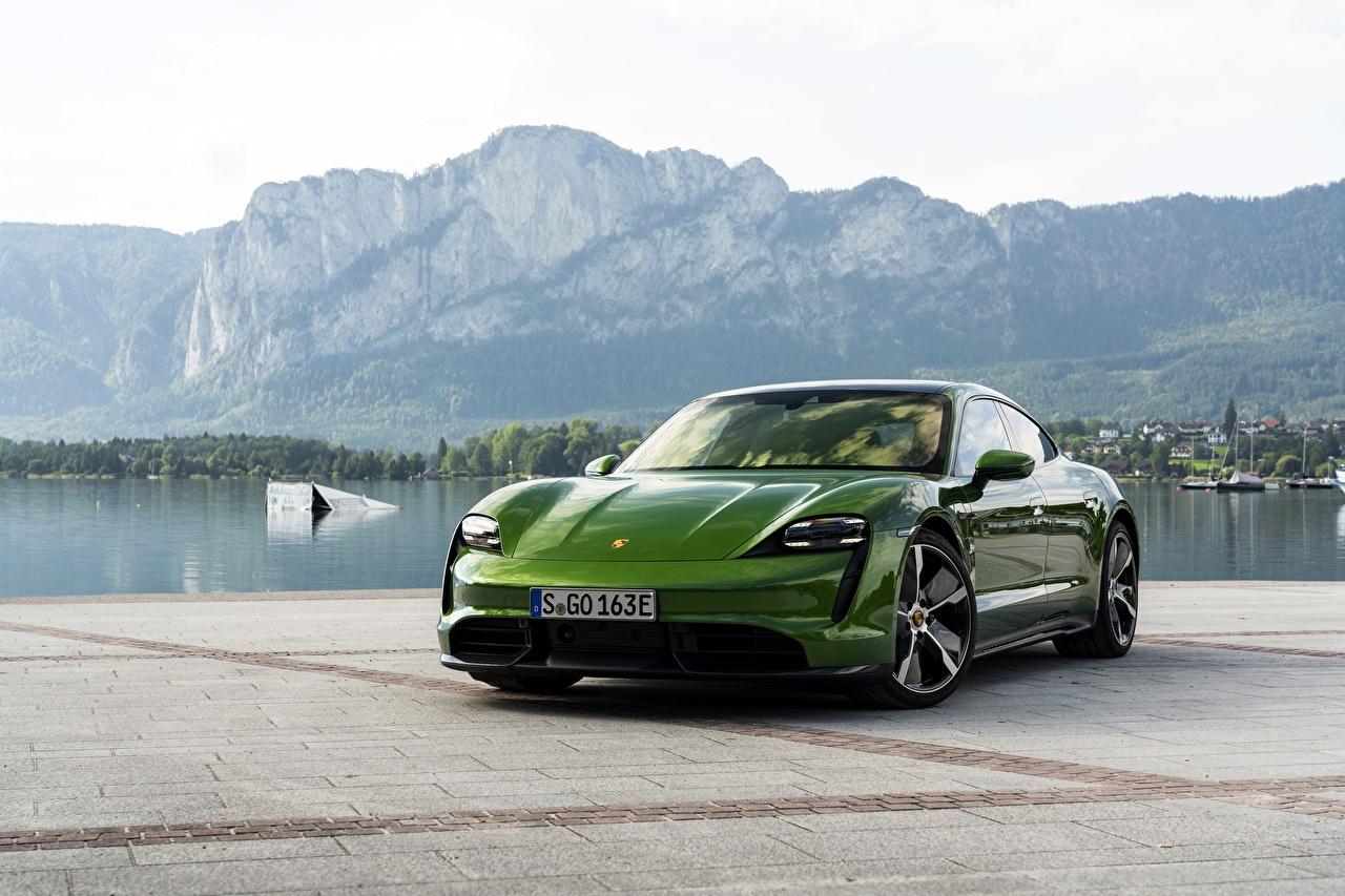 Wallpaper Porsche Turbo S 2020 Taycan Green Metallic automobile 1280x853