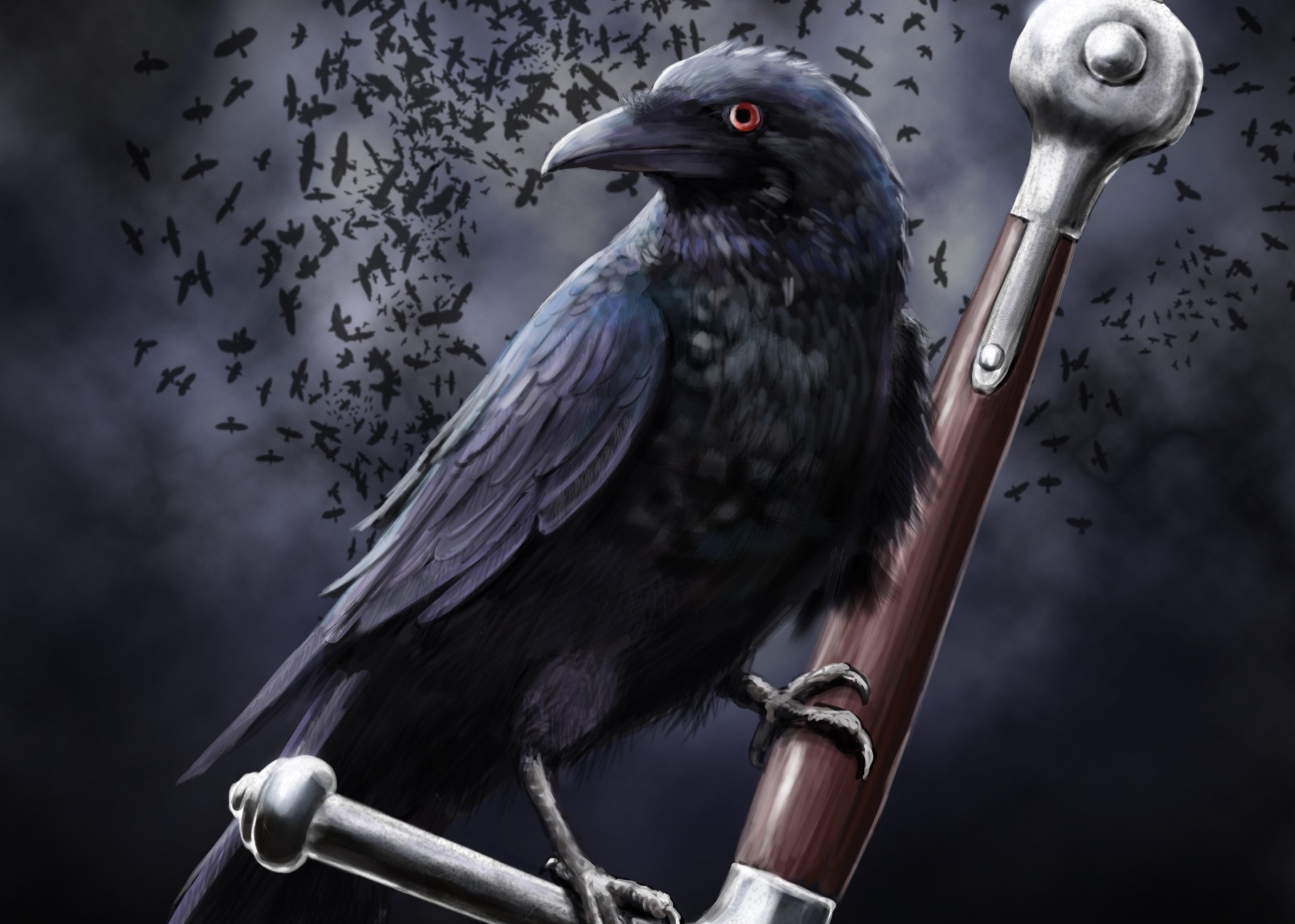 art leather raven crow clouds sword death dark swords weapon weapons 2390x1705