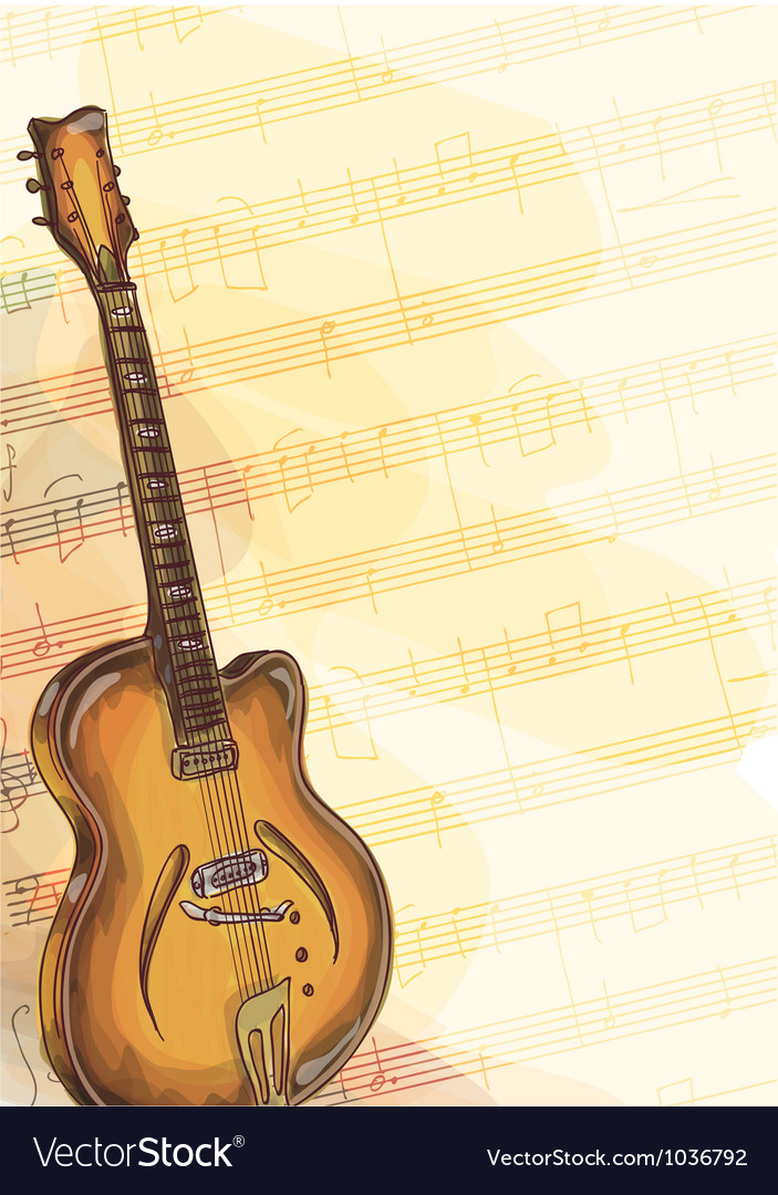 Bass Guitar on music background Royalty Vector Image 703x1080